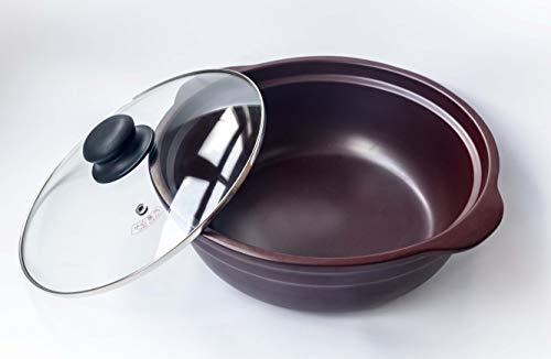 SIQUR SALUTE Pentola Casseruola in Ceramica 100% Naturale Alcalina No Colesterolo Atossica Antiaderente Nichel Free (22 cm)