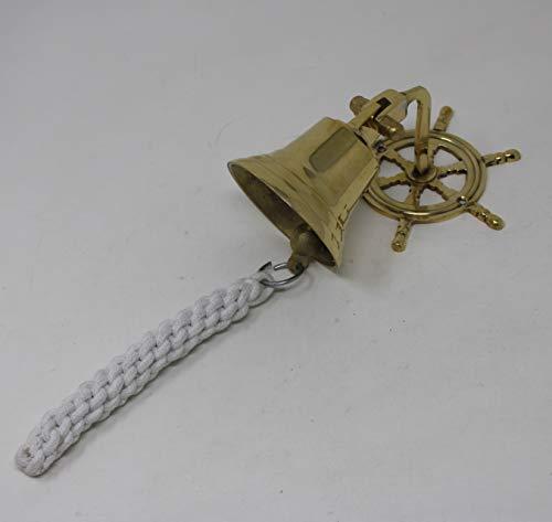 Wonderlist Handicrafts Messing Wandbehang Glocke Antik Vintage Massiv Messing Tür Metallglocke mit Tiefem Klang Antik Stil Home Decor für Wand Tür Mandir Tempel Pooja (Rad)