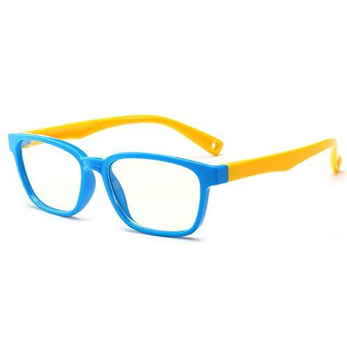 Anti Luce Blu Occhiali da Computer per Bambini Ragazzi e Ragazze Occhiali Bambini per PC Tablet Smartphone TV Gaming Anti Luce Blu Occhiali da Computer Flessibili 2 pezzi blu giallo