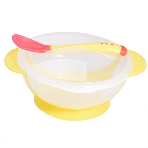 Juego de tazones de ventosa para bebés, binaural vajilla de alimentación infantil tazón de entrenamiento para niños con cuchara y Tapa del tazón (Yellow)