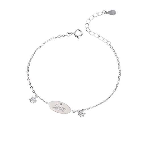 BGQ S925 pulsera de plata de ley simple amor femenino