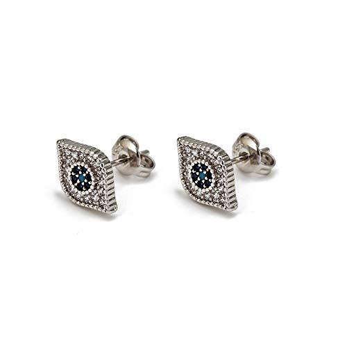 Micro Pave Zircon turco mal ojo stud aretes cobre oro plata color pequeños pendientes joyas para las niñas