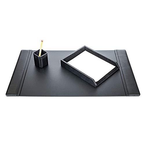 Dacasso Schreibtisch-Set mit Pad, Schwarz, 34x 20, 3-teilig