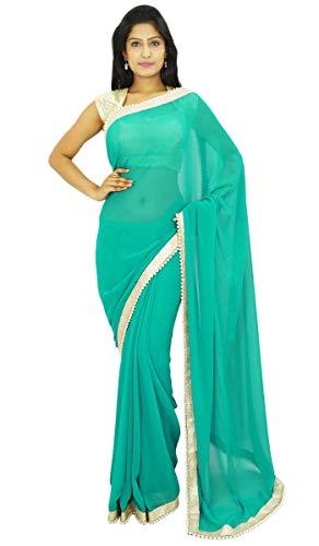 Desgaste del Partido Tradicional India Sari diseñador Georgette Sari Boda Regalo para Ella