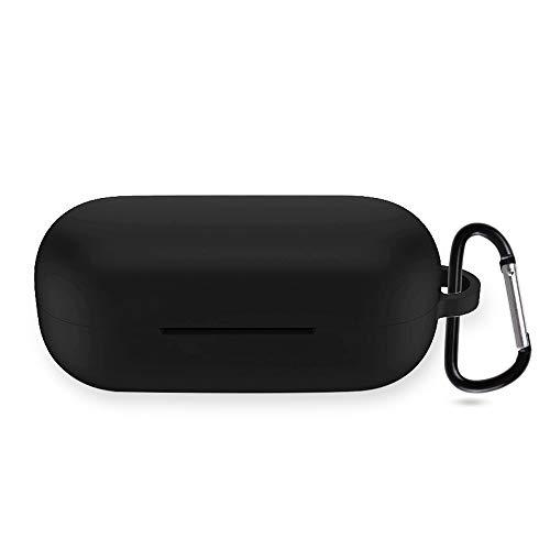 NEWZEROL Vollfarbige Silikonhülle, kompatibel für Huawei FreeBuds 3i / Honor Magic Earbuds Hülle, Vollkörper weich & flexibel, Kratz- & stoßfest, Silikonhülle [Vollkörperschutzhülle]-Schwarz