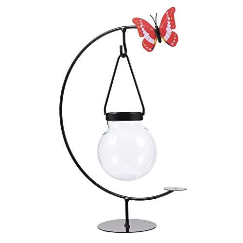 YARNOW Desktop Glas Pflanzer Hydroponik Vase Moderne Kreative Schmetterling Pflanze Terrarium mit Ständer für Pflanzen Hausgarten Küche Dekoration (Zufällige Farbe Schmetterling)