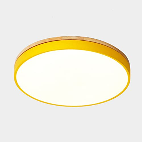 CHENKUI Luz De Techo LED Empotrada De Goma De Madera del Lechón del Arte De La Instalación Lámpara De Techo Macaron Moderna De Tres Tonos Iluminación Circular Ultrafina De 2,3 Pulgadas
