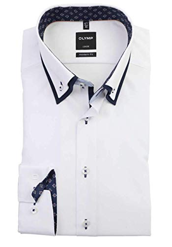 OLYMP Luxor modern fit Langarmhemd, Button-Down Weiss - 42