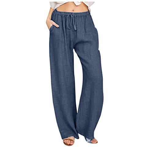 ITISME Pantaloni Donna Larghi, Pantaloni in Lino Casual Vita Alta Harem Pantalone Tinta Unita Tasca Elastica alla Moda Pantaloni Donna Taglie Forti Eleganti Pantaloni Donna Estivi