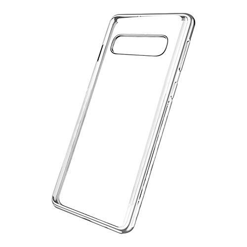 Transparente Funda para Samsung Galaxy S10/S10 Plus Enchapado Carcasa Ultra-Delgado Anti-Arañazos Caso Protectora Soft Silicone Cover (Silver, Samsung Galaxy S10)
