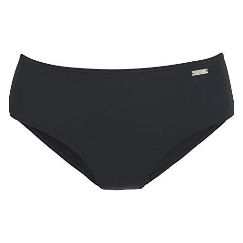 Lascana HSV-215 Damen Bikinihose mit höher geschnittenen elastischen Bund Uni, Groesse 42, schwarz