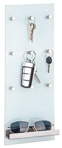 bonsport Schlüsselbrett mit Ablage - Schlüsselleiste mit 9 Haken aus Glas und Edelstahl