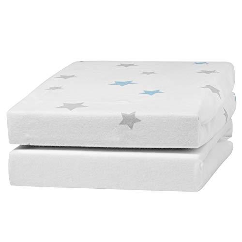 Urra Spannbetttuch Jersey Doppelpack weiß/Sterne mint 60x120 cm + 70x140 cm