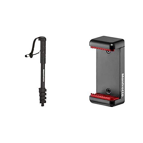 Manfrotto MMCompact-BK - Monopie, Negro + MCLAMP Attacco per Smartphone,...