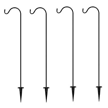 Shepherd's Hooks Garden Stakes, Set of 4 - BEST Lawn Stakes for Décor - Hang Mason Jars and Solar Lights - Outdoor Decoration - Perfect for Backyards, Weddings, and more!