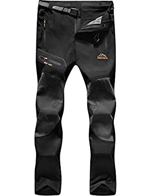 BenBoy Men's Hiking Pants Outdoor Lightweight Waterproof Quick Dry Climbing Camping Pants,KZ1763M-Black-L