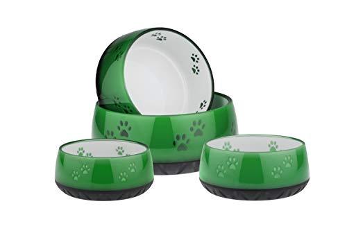 EHASO Hundenapf mit Pfötchen - Futter- und Trinknapf für kleine und große Hunde (1000ml, Grün)