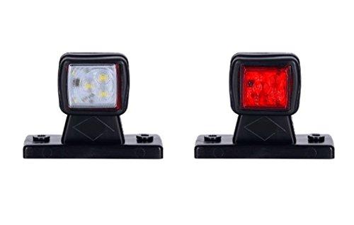 2 x 6 SMD LED Begrenzungsleuchte Seitenleuchte 12V 24V mit E-Prüfzeichen Positionsleuchte Auto LKW PKW KFZ Lampe Leuchte Licht Weiß Rot Universal