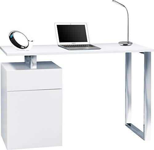 Centurion Supports CALISTA Gloss White with Brushed Steel Legs 3-Drawer Contemporary Home Office Computer Desk