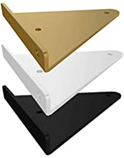 2 Stks Goud Drijvende Plank Beugels Muur Opknoping Planken, Heavy Duty Hoek Beugels Ondersteuning Hoek, Voor DIY Rekken Hardware Inbegrepen (Wit/Zwart)