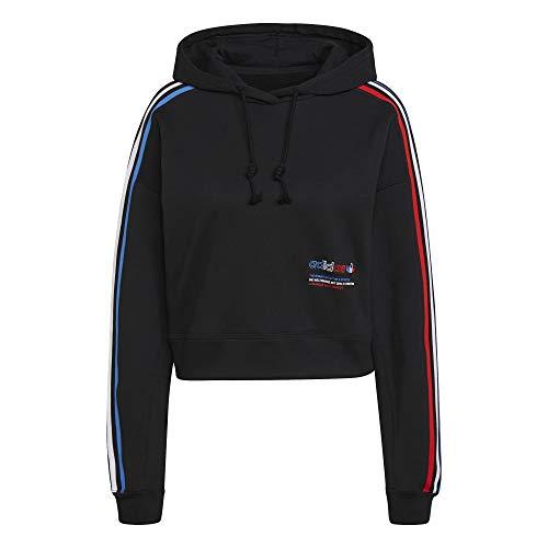 adidas Tricolor Cropped - Sudadera con capucha para mujer negro 36