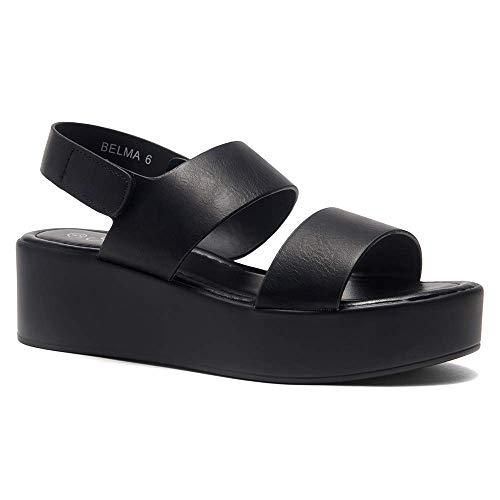 Herstyle Belma Women's Open Toe Ankle Strap Platform Wedge Sandals Black 10.0 Black Open Toe Ankle Strap