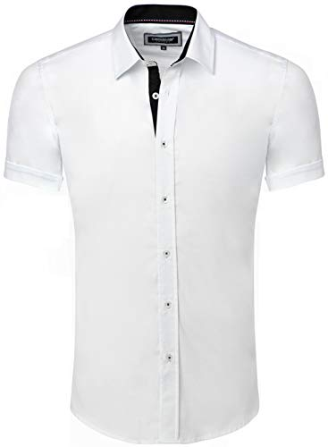 CARISMA Casual Herren Hemd Kurzarm Slim-Fit für Freizeit Business Hochzeit White L
