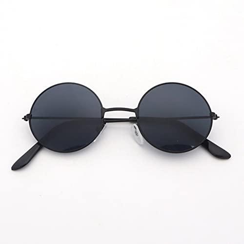 Morninganswer Gafas de Sol Redondas Retro, Gafas de Sol de Espejo Steampunk góticas Retro Vintage Gafas de Sol Doradas y Negras círculo Redondo Vintage