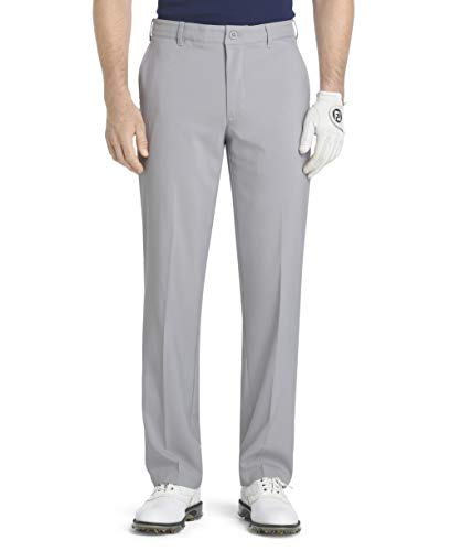 IZOD Men's Flat Front Traditional Slim Fit Basic Microtwill Golf Pant, Deep Silver Nickel, 34W x 30L