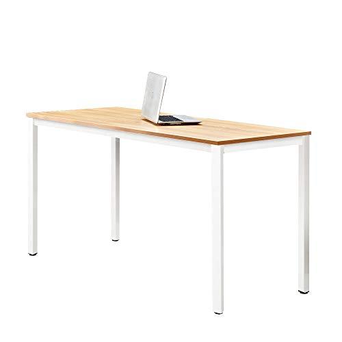 DlandHome Moderner Esstisch/Bürotisch Schreibtisch 138 * 55cm Computertisch zarbeitsplätze Studie für Zuhause/Büro, Teak W