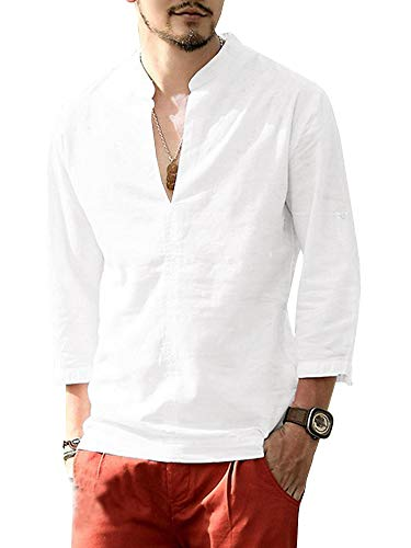 Gemijacka Leinenhemd Herren Henley Shirt Herren Freizeithemd 3/4 Ärmellänge & Kurzarm Regular Fit Kragenloses Leinen Shirt-Weiß-L