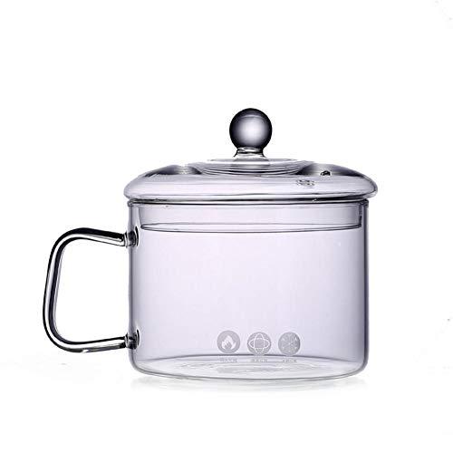 Tazones de sopa de cristal MANGGUO con mango y tapa,Sopa Pot Fideos Bowl Cocina de vidrio transparente para cocina,Herramientas de cocina hechas a mano Suministros de cocina 1350ML