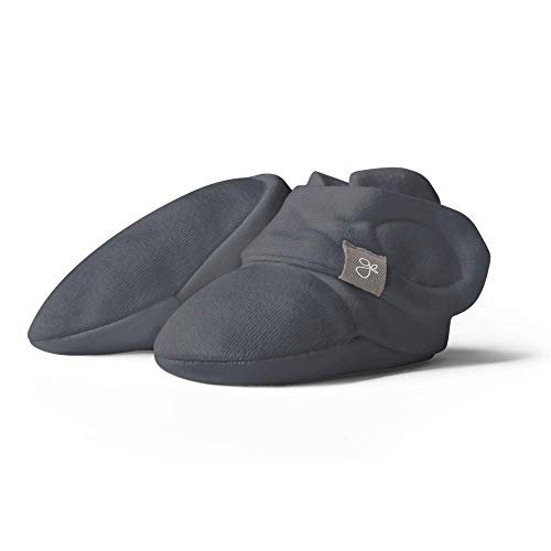 Goumi Baby Booties, Soft Stay On Booties Keeps Feet Warm and Adjusts to Fit as Baby Grows (Midnight, 6-12 Months)
