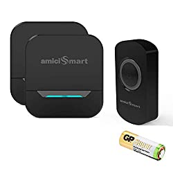 amiciSmart Wireless Doorbell Long Range Waterproof Push Button and Plug-in Receiver, LED Flash 32 Chime Tunes 3 Volume Levels with Battery (1 Transmitter and 2 Receiver(Black)),Generic