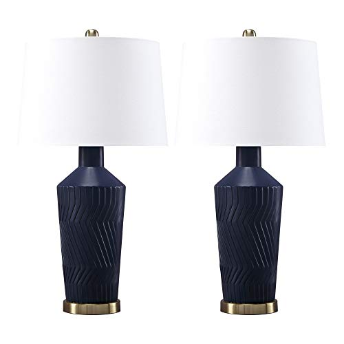 Ashley Furniture Signature Design - Leroi Matte Ceramic Glazed Table Lamp Set with Drum Shades-Contemporary-Set of 2-Blue