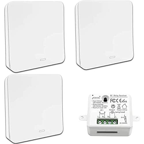 KIT interrupteur sans fil et sans pile autoalimenté Haute Qualité - Va et vient - 3 télécommandes murales + 1 récepteur encastrable installation sans travaux - intérieur et extérieur - compatible led