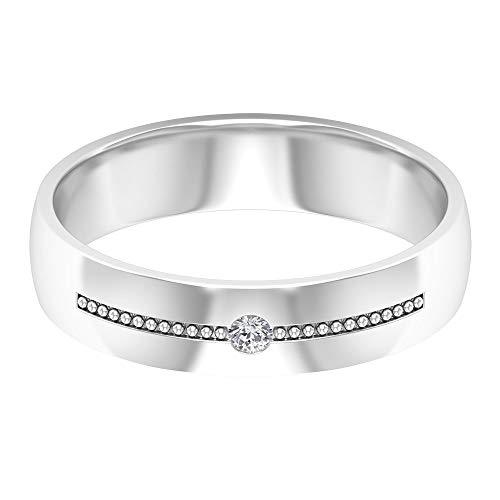 Anillo de compromiso para hombre, solitario redondo, anillo de diamante, anillo de boda milgrain, anillo a juego, anillo unisex, anillo de aniversario, 14K Oro blanco, Size:EU 50