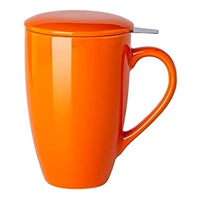 GBHOME Tea Mug with Infuser and Lid, 17 OZ Large Tea Strainer Cup with Tea Bag Holder for Loose Tea, Ceramic Tea Steeping Mug for Women/Men/Office/Home/Gift, Orange