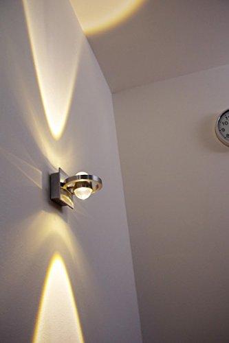 LED Wandleuchte Lente, moderne Wandlampe für den Innen- und Außenbereich, Außenwandleuchte aus Metall/Glas in Alufarben, 2-flammig, Up&Down-Effekt, 2 x 1 Watt, 160 Lumen, 3000 Kelvin (warmweiß), IP54
