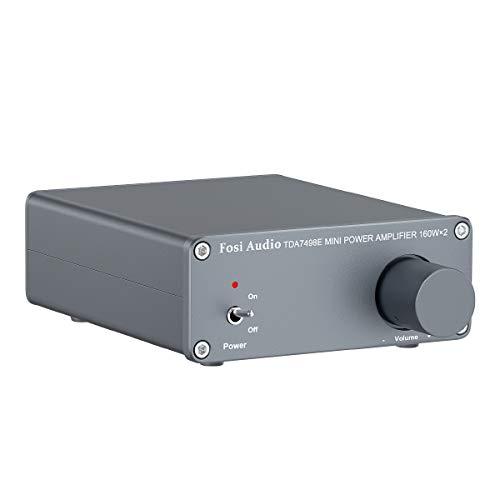 Fosi Audio-TDA7498E 2 Kanal Stereo-Audioverstärker Receiver Mini-HiFi Klasse D Integrierter Verstärker für Hauslautsprecher 160W x 2 + 24V EU-Netzteil