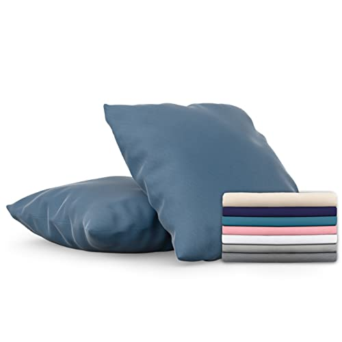 Dreamzie - 2er Set Kissenbezug 80x80 - Bezüge Blau - Kissenbezüge Mikrofaser (100% Polyester) - Kopfkissenbezug sehr Weich