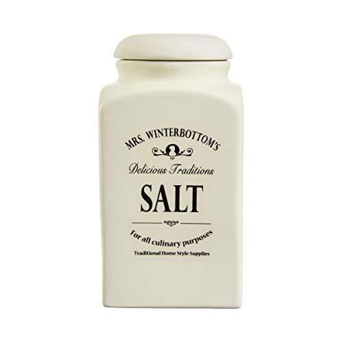 BUTLERS MRS. WINTERBOTTOM'S Salzdose 1,3 l in Creme - Vintage Vorratsdose aus Steingut im englischen Design - stilvolle, klassische Aufbewahrung