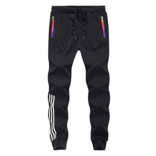 LBL Homme Pantalon Jogging Sport Pantalon Slim de Cordon de Serrage Noir M