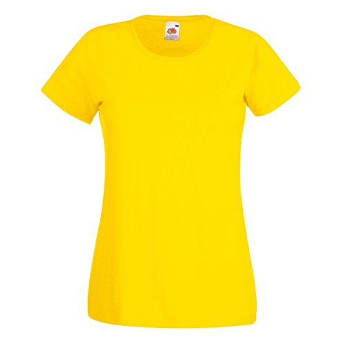 Camiseta de Fruit of the Loom para mujer, ajustada, de distintos colores, de algodón, manga corta Amarillo amarillo Large