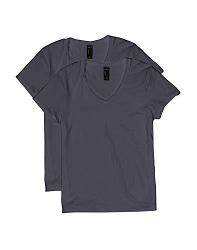 Hanes Women's Short Sleeve V-Neck t-Shirt, Vintage Black, Medium