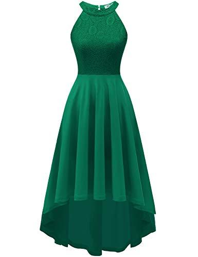 YOYAKER Damen 50er Vintage Rockabilly Kleid Neckholder Cocktailkleid Spitzen Vokuhila Festliche Party Abendkleider für Hochzeit Dark Green XS