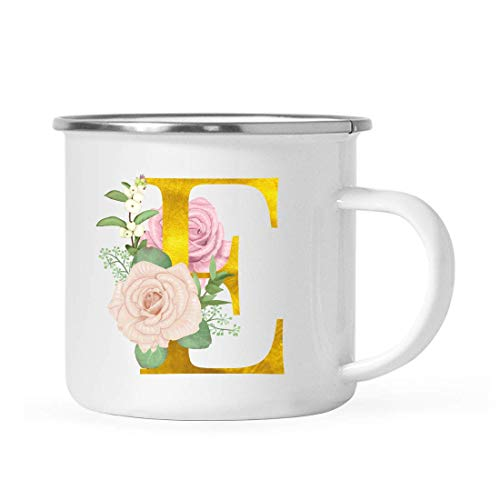 Andaz Press Kids Stainless Steel 11oz. Campfire Coffee Mug Gift, Blush Pink Roses Faux Gold Monogram Initial Letter E, 1-Pack, Bridesmaid Proposal Box Birthday Camping Cup, Includes Gift Box