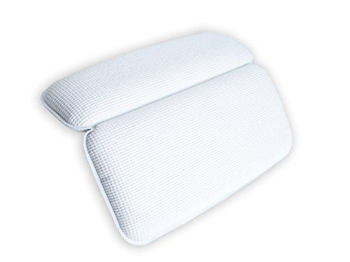 BRUMA #1 Almohada Premium de Baño Suave no Mullida y con Ventosas Antideslizantes. Cojín Reposacabezas para Bañera Jacuzzi SPA e Hidromasajes. Impermeable, Facil de Limpiar y Secado Rápido