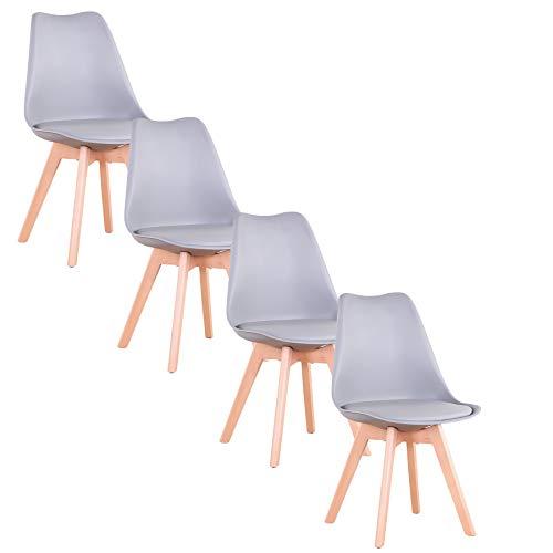 GrandCA Home Lot de 4 chaises de Salle à Manger, chaises Tulipes avec Coussins et Pieds en Bois Massif, adapté au Salon, Salle à Manger, Bureau (Gris-4)