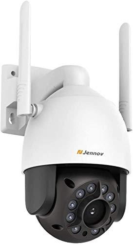 Jennov 2MP PT Überwachungskamera 1080P Full HD WLAN IP Sicherheitskamera 355° schwenkbar 90° neigbar Zweiwege-Audio Nachtsicht IP66 wasserdichte Kamera mit 32GB Karte APP Fernzugriff für Haus Außen